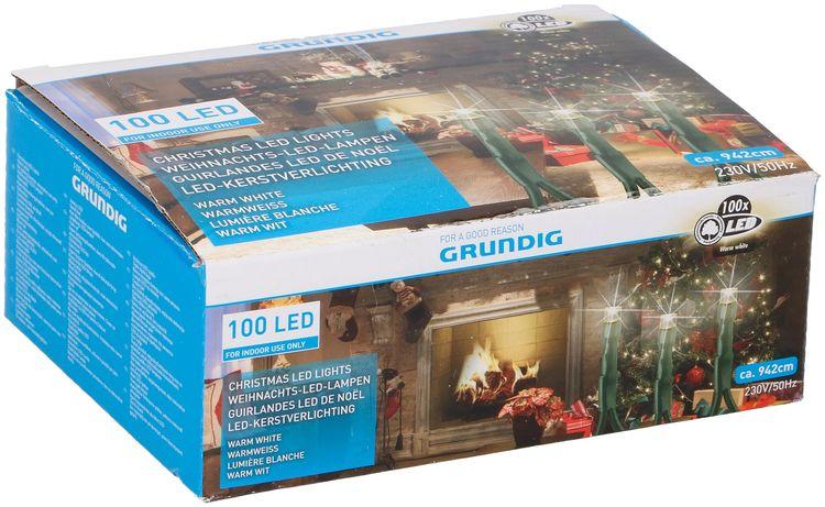 Luci natalizie 100 LED 942cm 230V Bianco caldo da interno Grundig 8711252064864 871125206486