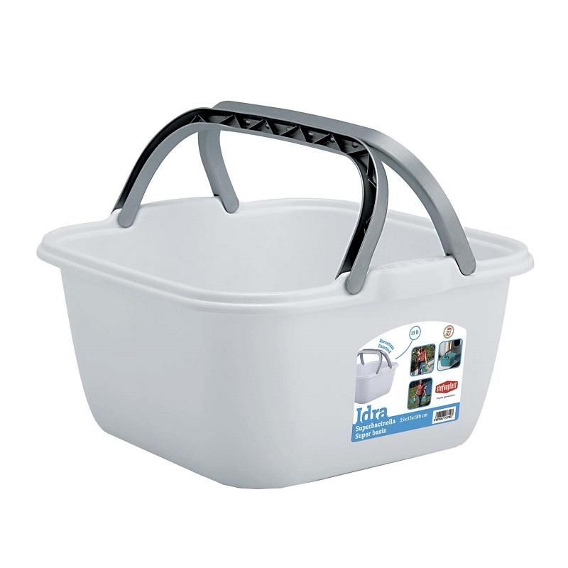 Bacinella quadrata 13 litri con manici Stefanplast - Colore Bianco 8003507277007 800350727700 ED3218
