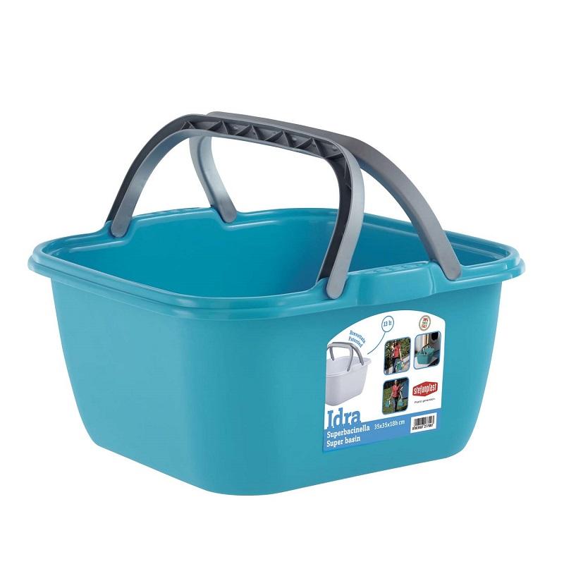 Bacinella quadrata 13 litri con manici Stefanplast - Colore Azzurro 8003507277007 800350727700 ED3220