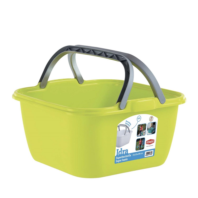 Bacinella quadrata 13 litri con manici Stefanplast - Colore Verde ED3222 8003507277007 800350727700