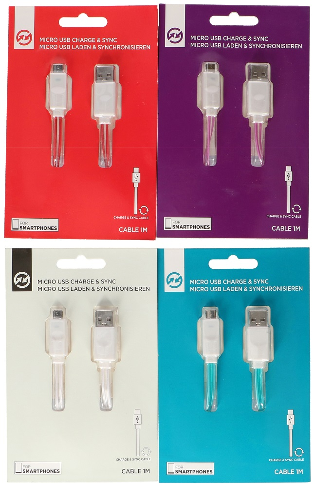 USB-Micro USB cable for charging and data with 1 meter LED - Various colors ED3236