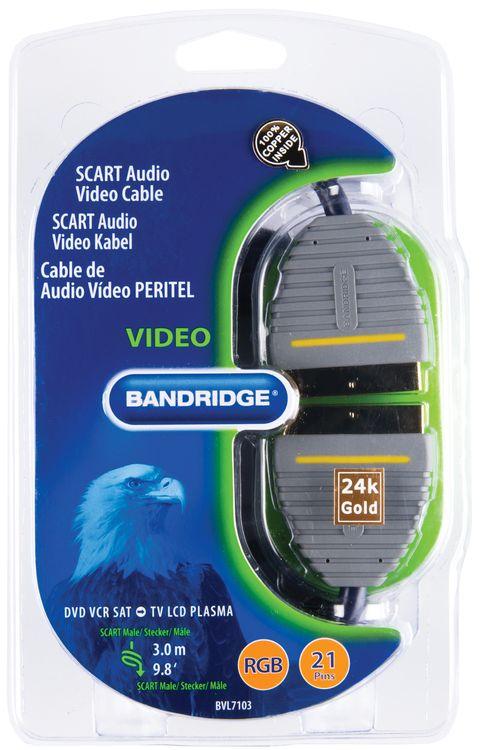 SCART cable SCART Male - SCART Male 3.00 m Blue ND1060 Bandridge