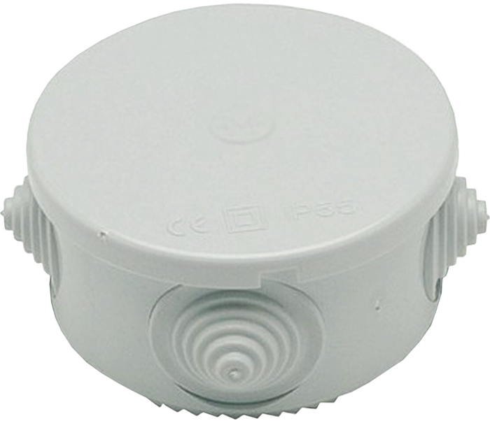 Round external junction box with cable holes - 50x50mm EL105 FATO