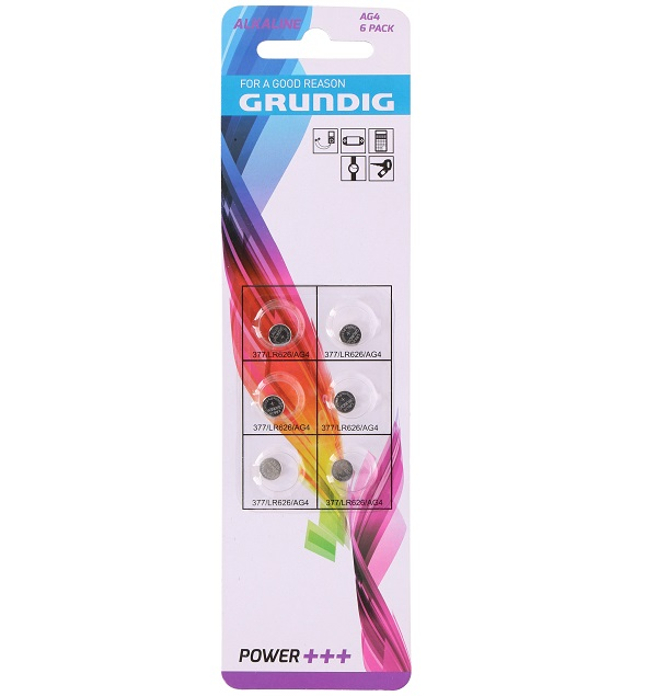 Batterie Grundig a bottone AG4 - Confezione 6 pezzi ED138 Grundig