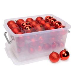Confezione 70 pezzi palline natalizie 4-5-6cm rosso Christmas Gifts ED1095 Christmas Gift