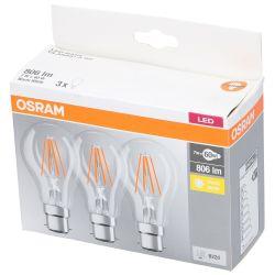 Kit 3 LED bulbs 7W A60 B22D 806lm Warm white Osram ED3102 Osram