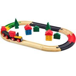 Wooden toy train 19 pieces Marionette Wooden Toys ED887