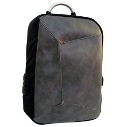 Padded multi-function backpack with gray-black USB combination MOB1060