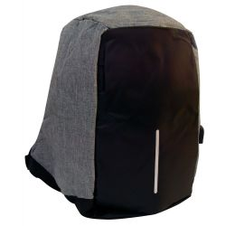 Anti-theft multifunctional padded backpack with reflector USB black-gray jeans MOB1070