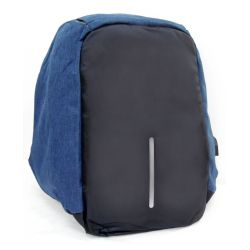Anti-theft multifunctional padded backpack with black-blue jeans reflector MOB1080