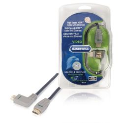 High Speed ??HDMI Cable with Ethernet HDMI Connector - HDMI Connector Right corner 2.00 m Blue ND1050 Bandridge