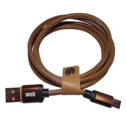 USB cable - MicroUSB data / power supply in leather - 1 meter MOB1338