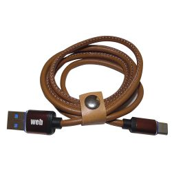 USB cable - Type C data / power supply in leather - 1 meter MOB1346