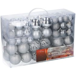 Confezione 100 palline natalizie assortite argento Christmas Gifts ED1175 Christmas Gift