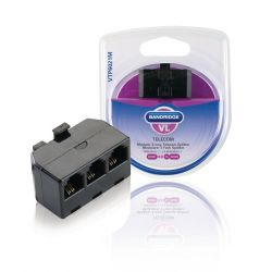 Adattatore Telecom RJ11 per Sensore temperatura, Antenna GSM - 3x RJ11 (4/6) Femmina Nero A1670 Bandridge