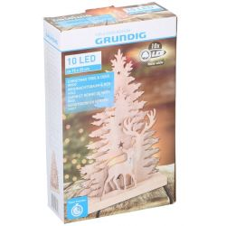 Christmas trees with deer 25x15cm in wood with Grundig LED lighting ED4118 Grundig