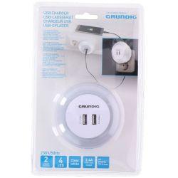 2x USB 2.4A charger with Grundig white night light ED4266 Grundig