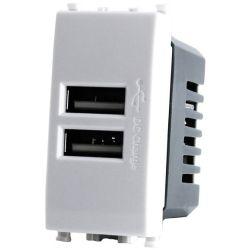 Alimentatore doppia presa USB 5V 2A 4.5x2x4.5cm Bianco compatibile Vimar Plana EL1982