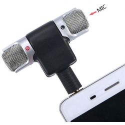 Microfono stereo snodabile 90° jack 3.5mm 4 poli per smartphone e tablet MIC072