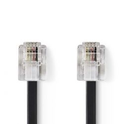 Telecommunication cable Male RJ11 10m Black ND1014