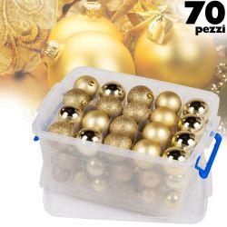 Confezione 70 pezzi palline natalizie 4-5-6cm oro Christmas Gifts ED3363