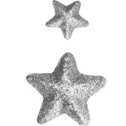 Stelle glitterate 15/30mm, argento KP2096