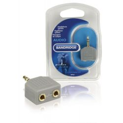 Adattatore Audio Stereo Maschio da 3.5mm 2x 3.5mm Femmina Grigio ND3502