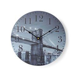 Orologio da parete circolare Diametro 30 cm Immagine Ponte di Brooklyn ND4368
