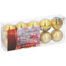Confezione 10 palline natalizie assortite oro Christmas Gifts ED514