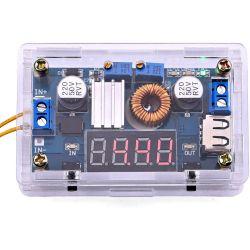 Regolatore di tensione da 5-36V a 1,25-32V DC con display e USB WB354