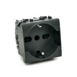 Universal schuko socket 16A-250V black compatible Living International EL2300