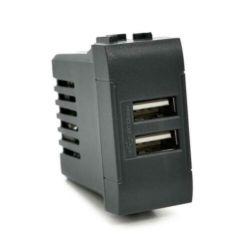 Alimentatore doppia presa USB 5V 2A nero compatibile Living International EL2302