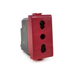 Presa bivalente 10-16A per segnalazione linea dedicata/emergenza rossa compatibile Matix EL2344