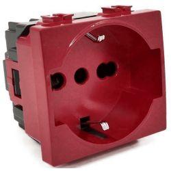 Vimar compatible red schuko socket for dedicated / emergency line signaling EL2404