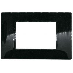 3-gang 3P black / glitter cover plate in technopolymer compatible with Vimar EL2402