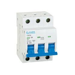 Interruttore magnetotermico 6kA 6A 3P curva C Elmark EL3108