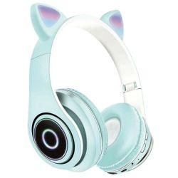 Cuffie Bluetooth wireless con illuminazione LED supporto scheda SD a tema gatto vari colori WB2025