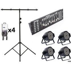 Kit 4 Par LED + Centrale DMX + Stand luci 3 m + 4 Cavi DMX KITLIGHT-100