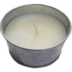 Candela alla citronella bianca in vaso di metallo diametro 10cm Arti Casa ED5037