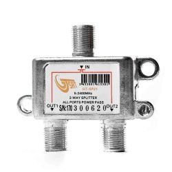 Splitter 2 vie 5-2400MHz con connettori F in linea GT-SAT MT293