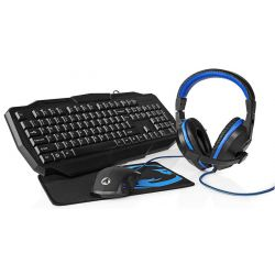 4 in 1 Italian keyboard LED headphones with microphone, mouse and pad Gaming kit ND8056