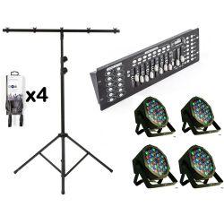 Kit 4 RGB strobe lights + DMX control unit + 3 m lights stand + 4 DMX cables KITLIGHT-200