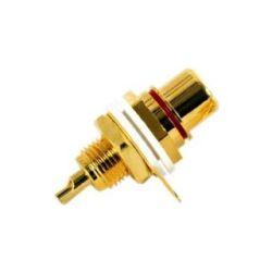 Connettore RCA dorato Femmina da pannello - Rosso C1011