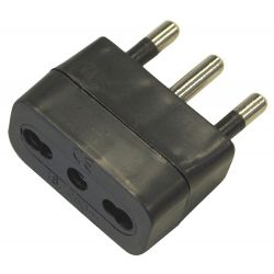 16A power socket adapter with 10 / 16A bypass - Black EL845