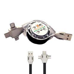 Cavo USB 3in1 retrattile - 1 metro - nero K458