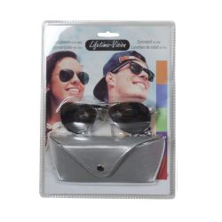 Sunglasses with Lifetime Vision case - silver gray ED699