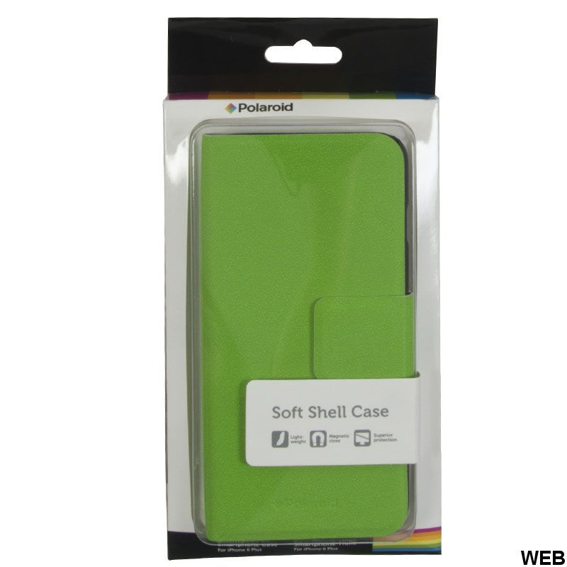 FLIP case for iPhone 6 Plus in faux leather Green magnetic closure MOB656