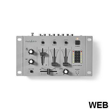 DJ Mixer |3 stereo channels |Crossfader |Talkover function MIXD050GY Nedis