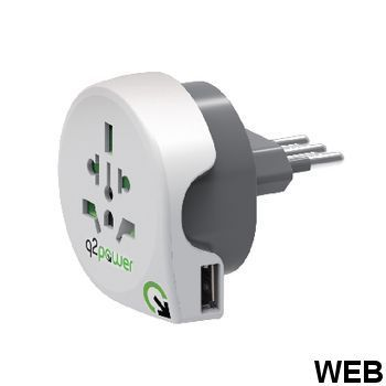 Travel Adapter World-to-Italy USB Earthed 1.100190 Q2 Power