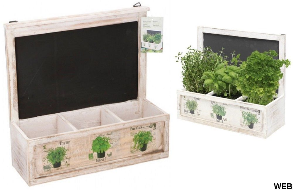 Vintage seed pot 3 compartments with 33x12x31cm Lifetime Garden blackboard ED5016 Lifetime garden